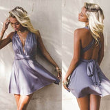 Charming A-Line V-Neck Backless Light Purple homecoming dress cg5413