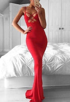 2020 Gorgeous Red Spaghetti Straps Column/Sheath Stretch Satin Prom Dresses cg5434