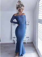 Long Sleeves Lace Off the Shoulder Mermaid Long Prom Dress  cg5439