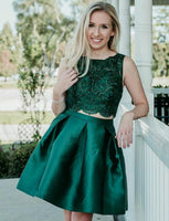 Two Piece Dark Green Satin Homecoming Dress With Beading cg543