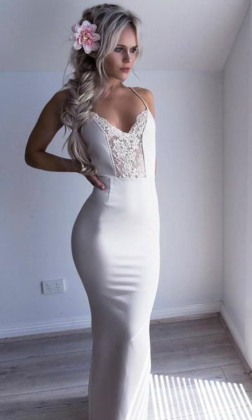 Sexy Spaghetti Straps Prom Dress, White Halter Party Dress, Mermaid Long Evening dress cg5441