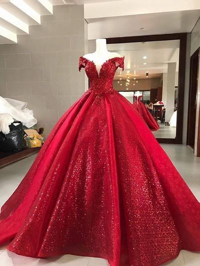 Elegant Red Ball Gown,Sparkly Sequin Quinceanera prom Dresses, cg5442