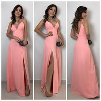 A-lien v neck pink long prom dress , open back prom dress cg5449