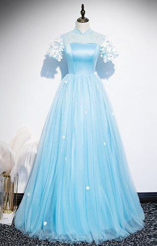 Fresh Blue Tulle Satin Short Sleeve Long Senior Prom Dress, Formal Dress cg5450