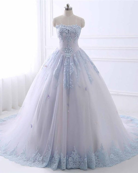 Princess light blue tulle strapless high waist long A-line evening dress, long lace formal prom dress cg5451