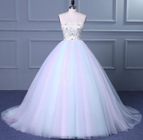 Unique Strapless Sweetheart A Line Wedding Dresses Beaded Bridal prom Gown cg5453