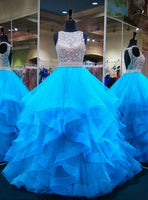 Blue Puffy Ball Gown Crystals Backless African Prom Dresses cg5454