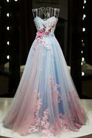 Unique pink and blue tulle long strapless senior prom dress, evening dress cg5455