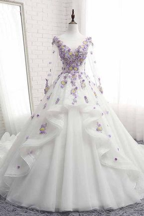 White Tulle Ruffles Long 3D Flower Lace Applique Prom Dress, Quinceanera Dress With Sleeve cg5456