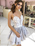 A-Line Spaghetti Straps Gray Satin Homecoming Cocktail Dress With Appliques  cg545