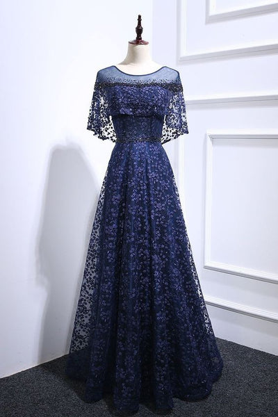 Navy Blue Floral Lace Long Beaded Prom Dress, Long Lace Up Evening Dress cg5460