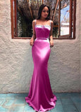 Satin Spaghetti Straps Neckline Floor-length Mermaid Evening prom Dress cg5475