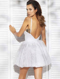 A-Line Spaghetti Straps Short Tulle Homecoming Cocktail Dress With Appliques cg548