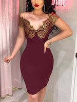 Burgundy Patchwork Lace Off Shoulder homecoming Party Midi Dress cg5485