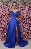 Blue slit long dress with princess style skirt prom dress cg5487