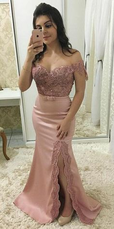 Sweetheart Off Shoulder Appliques Prom Dress Custom Made Side Slit School Dance Dresses Fahion Long Evening Party Dresses cg5488