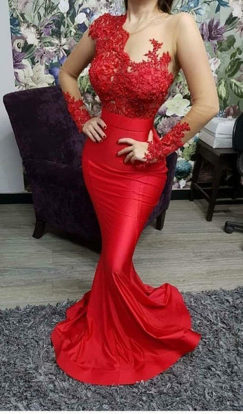 Long Sleeves Red Prom Dress cg5490