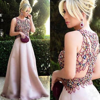 Gorgeous Beaded Floral Blush Pink Long Prom Dress cg5493