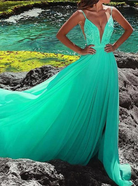 Sexy Deep V Neck Green Long Prom Dress with Straps, Sexy Evening Party Dress cg5497