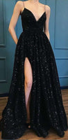 2019 Black Sequins Spaghetti Straps Split Simple Fashion Luxury Prom Dresses, Special long Dresses cg54