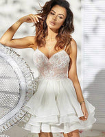 A-Line Spaghetti Straps White Organza Homecoming Cocktail Dress With Appliques  cg550