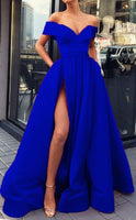 long satin royal blue evening dress off shoulder prom gowns cg5510