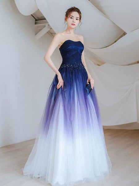 A-line Ombre Prom Dresses Sweetheart Custom Long Prom Dresses Evening Dress cg5512
