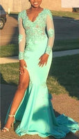 Custom Made New Mermaid Prom Dresses V Neck Mint Green Lace Long Sleeves Prom Dress High Split Evening Gowns  cg5538