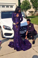 Sexy Keyhole High Neck Mermaid Purple Sequined Prom Dresses Long Sleeves Black Girl Long Evening Party Dress  cg5539