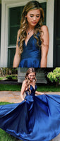 Simple Straps A-line blue Long Prom Dress cg553