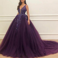 deep purple ball gown prom dresses 2020 deep v neck crystals beaded prom gown vestido de graduation  cg5543