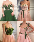 Flower Prom Dress,Tulle Prom Gown,Appliques Prom Dress,A-Line Prom Gown cg5547
