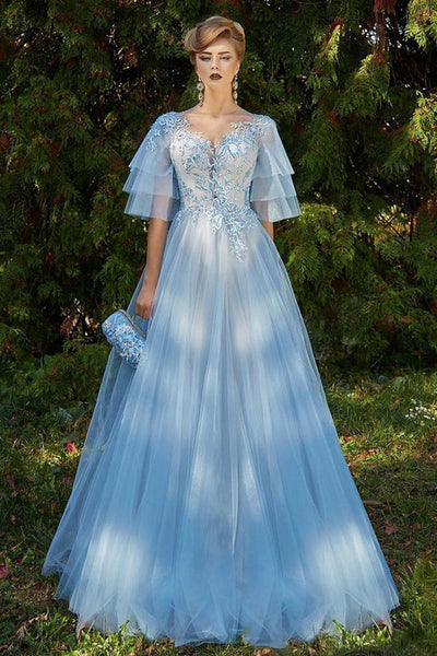 Excellent Tulle Jewel Neckline Bell Sleeves A-line Prom Dress With Beaded Lace Appliques,Custom Made,Party Gown,Cheap Evening dress cg5548