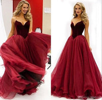 Vintage Dark Red Wine Prom Dresses Organza Sweetheart A line Princess Royal Party Gowns Simple Custom Made Evening Gowns cg554