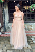Sweetheart Flowy Champagne Prom Dress cg5557