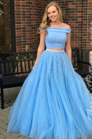 Two Piece Off-the-Shoulder Open Back Blue Prom Dress with Beading  cg555