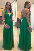 Green long skirts prom dresses , open back prom dress   cg5560