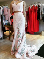A-Line V-Neck Two Straps Two Pieces Sleeveless Long Prom Dresses  cg5562