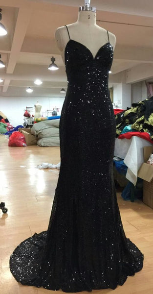 V Neckline Criss-Cross Backless Bling Bling Mermaid Prom Dress black Sequins Evening Dresses cg5563