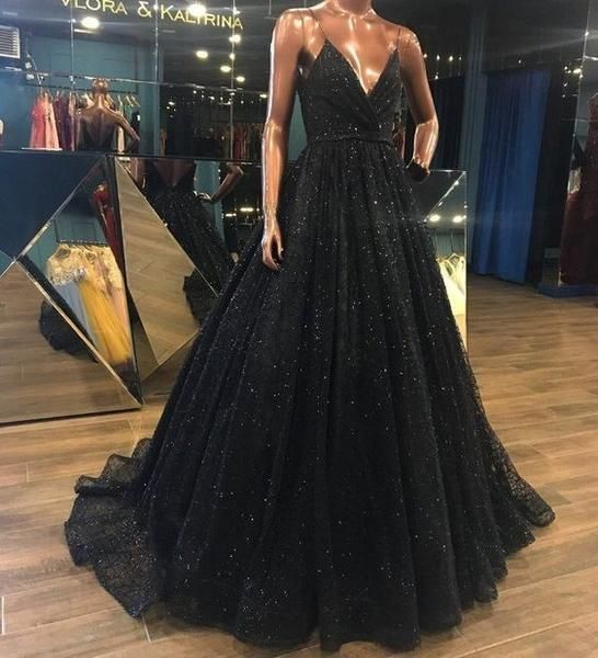 V Neck Sparkly Long Black Prom/Evening prom Dress,Shiny Sequin Lace Prom Evening Gowns cg5564