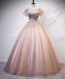 Pink Tulle Round Neck Sequins Long Formal Prom Dress With Sleeve   cg5576