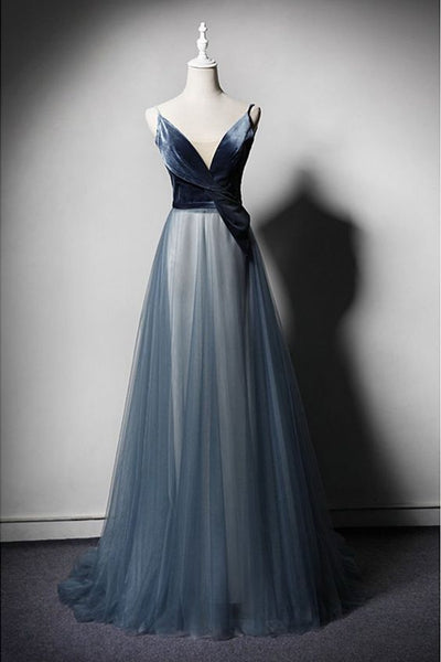 New Design Blue Tulle Velvet Long V Neck Senior Prom Dress  cg5584