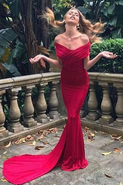 Mermaid Prom Dresses,Off-the-Shoulder Prom Gown, Ruched Prom Dress,Red Prom Dress,Spandex Prom Dresses   cg5585