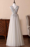 Gray Tulle Long V-Neck Evening Dress, Lace Formal Prom Dress cg5587