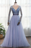 Dusty Blue Long Sleeves Deep V-neck Beaded Pearl Prom Dress, Formal Dress cg5588