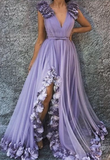 Lavender Tulle V Neck Long 3D Lace Applique Slit Prom Dress, Evening Dress  cg5589
