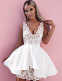 A-Line Deep V-Neck White Satin Homecoming Cocktail Dress With Appliques cg558