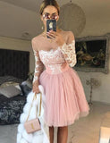 A-Line Jewel Long Sleeves Pink Tulle Homecoming Cocktail Dress With Appliques cg559