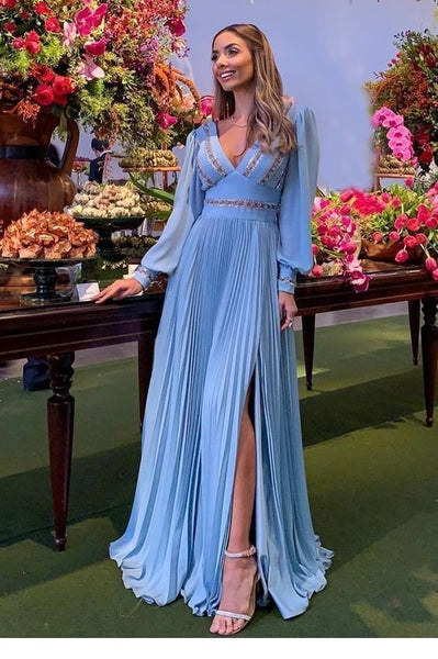 Elegant Chic long sky blue prom dress  cg5592