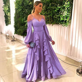 Sexy purple A Line Prom Dress, Chiffon Long Evening Party Gown   cg5594
